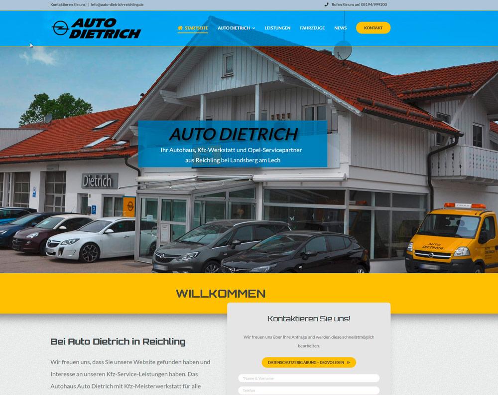 Bild neue Website Auto Dietrich